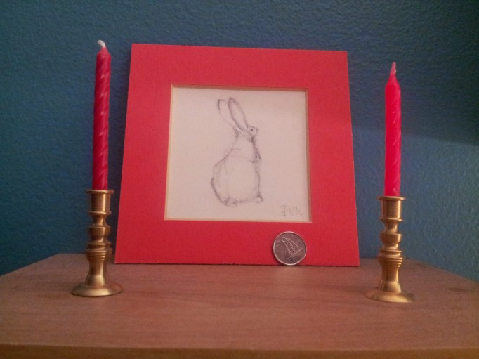 Bunny Sketch and Tiny Candlesticks